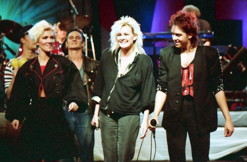 Roxette together with Eva Dahlgren on the Rock Runt Riket tour in 1987