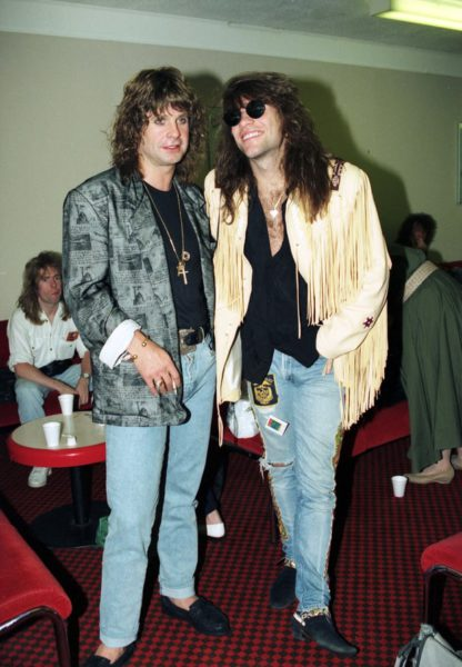 Ozzy Osbourne and Jon Bon Jovi at Stansted Airport in England. Tony White/AP